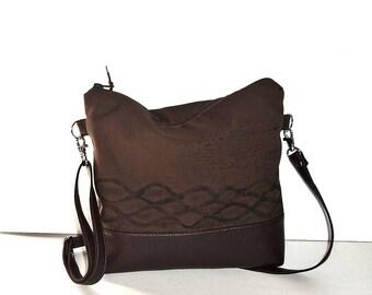 DAY BAG, brown canvas bag, canvas crossbody  bag, vintage bag, Hobo bag, small brown crossbody bag, canvas shoulder bag, canvas purse