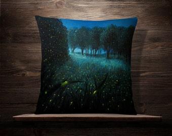 Ember of Life | Firefly | Throw Pillow | Pillow Case | Field | Cushion | Illuminate | Night Light | Green Grass | Fairy Tale | Illustration