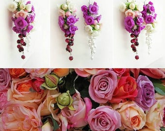 rose earrings, pink rose earrings, chandelier earrings, gift for her, bridesmaids earrings, roses bridal jewellery, pink jewellery, flower