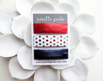 Patriotic Skinny Clip Set | Red White + Blue Metallic Hair Clip Set | Fourth Of July Clips | Patriotic Hair Clips | Patriotic Bow