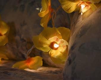 Yellow Orchid Flower Fairy Light Garland
