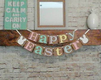 Happy Easter Banner- Easter Banner- Easter Mantle Decor- Hoppy Easter- Pastel Banner- Easter Decor- Easter Party Banner- He is Risen