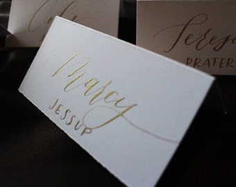 Calligraphy Place Cards / white paper with gold ink / printed last names