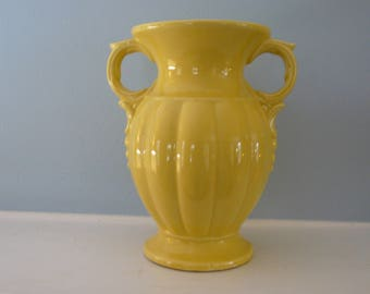 McCoy Double Handled Yellow Urn Vase