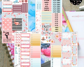 Flamingo Weekly Kit, White Space Planning - MulberryPOP A5 Vertical - Erin Condren Vertical - Various Planners