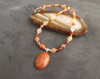 Jasper Pendant with Carnelian and Silver Beads