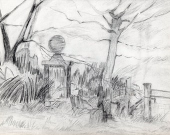 Charcoal Drawing, Lonely Post.  Print of original charcoal drawing featuring lonely entry post at abandoned homeplace.