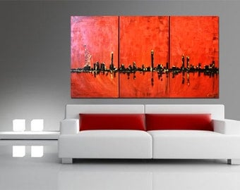 New York Art Painting on Canvas, NYC Art, New York Painting, New York Original Abstract Painting, Large Wall Art, New York City Skyline