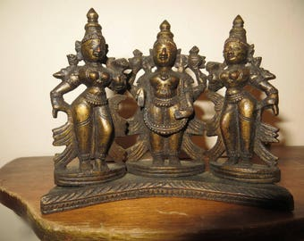 Old Wood Asian Temple Gods Figurines Hand carved w/ free ship