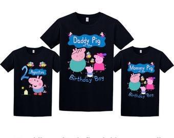 Peppa Pig Birthday Shirt, Peppa Pig Custom Shirt, Personalized Peppa Pig Shirt, Peppa Pig family shirts, Birthday t-shirt for girls and boys