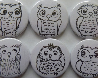 "Fridge magnets ""Owls"" set of 6"