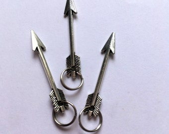 Arrow Zipper Charms - 3.3cm Silver