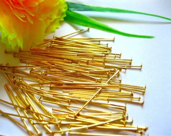 Gold Head Pins - Jewelry Making Pins - Gold Plated Findings - Jewelry Findings