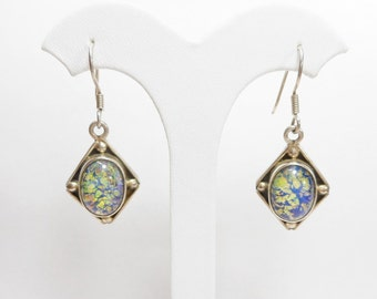 Dichroic Glass, Sterling Earrings, Vintage Earrings, Dangle Earrings, Sterling Silver Oval Cabochon Dichroic Glass Dangle Earrings #2332