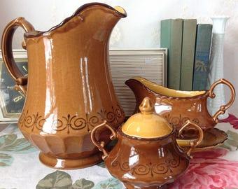 Vintage California Potteries Water Pitcher Vernon Ware by Metlox San Fernando Gold Poppytrail Pattern, Sugar Bowl, Gravy Boat, Pottery