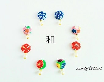 Free shipping! Japanese Pattern Covered Button Earrings