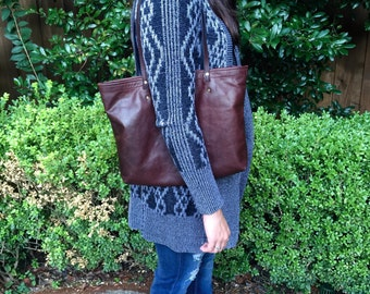 Leather Tote Bag, shoulder bag, laptop bag, medium size (brown)