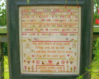 Caroline Adler 1828 Reproduction Sampler by Cardan Antiques and Needlework Counted Cross Stitch Pattern/Chart