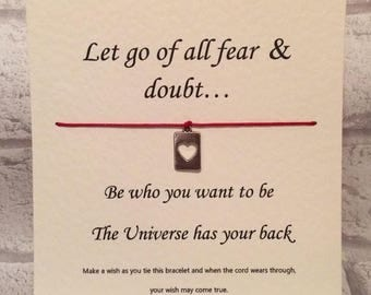 The Universe has your back   Tibetan Silver Charm Wish Bracelet & Message Card    Handmade By Erin