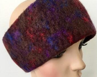 Brown Head Warmer, Gift for Her, Handmade Headwarmer, Wool Head Band, Wool Headband, Boho Winter Headband, Felted Wool Headband