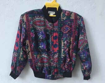 Rare!!Vintage naked silk baroque jacket royalty swag multicolour size S