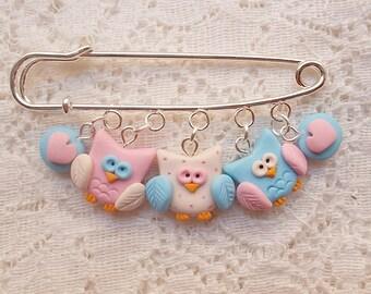 Pastel owls brooch- Polymer clay owls brooch- Handmade owl- Fimo owls- Pastel brooch