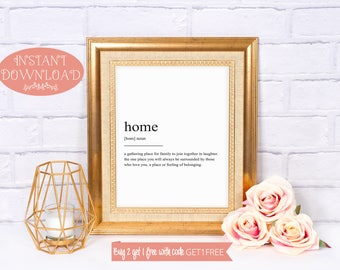 Printable Art, Home Definition Print, Wall Art Prints, Instant Download, Quote Print, Minimalist Print, Modern Art, Family Print, Wall Art