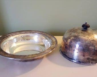Antique Silver Plate Muffin Dish H&H Silver Plate