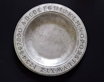 Wilton Pewter RWP Alphabet Plate Numbers Plate