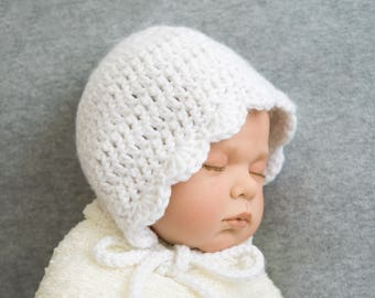 Baby bonnet, crochet hat, baby hat, baby girl, vintage style, baby crochet, birth gift, photo props, newborn hat