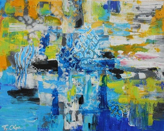 Blue Wall Art Canvas, Original Abstract Acrylic Painting, Palette Knife Art, Textured Painting, Yellow Modern Art, Impasto Small Painting