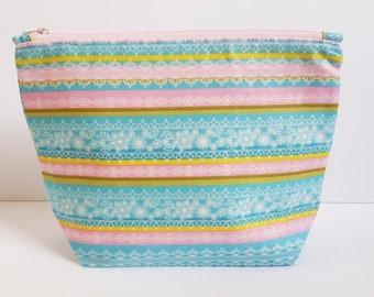 Pretty In Spring, Notions Pouch, Knitting Bag, Crochet bag, Zipper Pouch, Makeup Bag, Cotton Bag, Toiletry Bag, Art Supply bag, Wedge Bag,