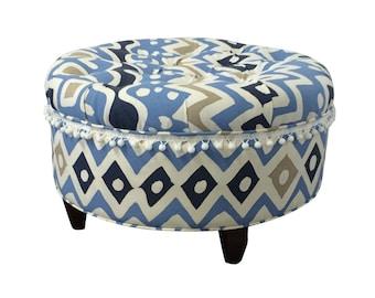 Upholstered Ottoman, Alan Campbell, Cap Ferrat, Quadrille Fabric, Blue Ottoman, Upholstered Stool, Tufted Ottoman