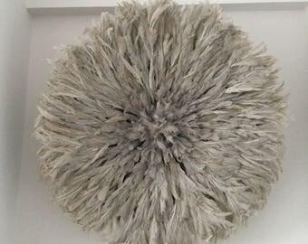 Aka - (Large - 32 po) authentique - coiffe de plumes de décoration murale - Taupe