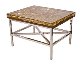 Modern Organic Golden Shattered Resin Coffee Table - Contemporary Design - Custom Furnishings - Love Lounge Table