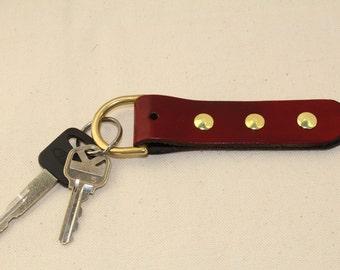 Handmade Leather Ox Blood (Deep Red) Key Chain / Fob / Keychain / Brass