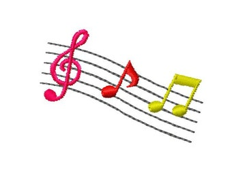 Musical Notes Embroidery Design, Instant Download, 4x4 Hoop Size,  8 Formats, Music Notes Embroidery