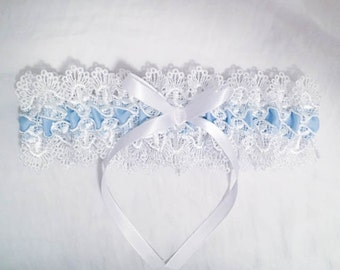 White and Blue Lace Garter