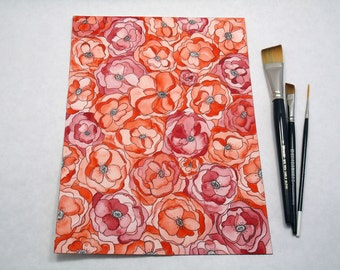 Red Poppies Floral Watercolor Painting