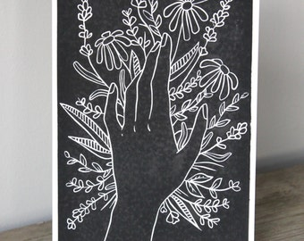 A5 Lino Print -Hand and Flowers in Black and White