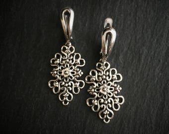 Sterling Silver Earrings, Silver Filigree Earrings, Vintage Styled Silver Earrings, Bohemian Earrings