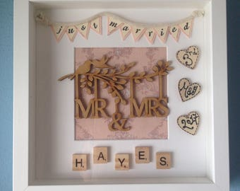Personalised handmade Mr and Mrs white box frame. The perfect Wedding gift/present for the married couple.