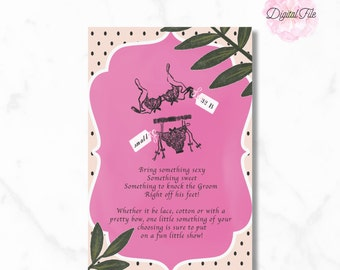 BRIDAL SHOWER INVITATION- Peach Magenta Polka Dot Watercolor Illustration- DIy Digital Printable Invite- Modern Glam- Sixties Chic