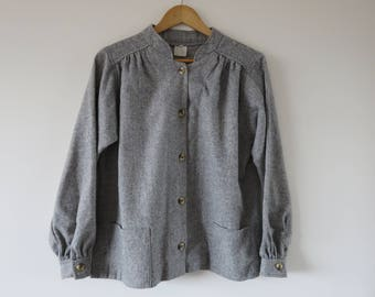 1960's Wool Workers Jacket / Woven Tweed Button Up Long Sleeve Cuffs Outerwear / Made in England Size 12 Large