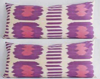 SALE! Handwoven Silk Ikat Bolster Pillow Pillow Purple Ivory Pink Pillow Cover Purple  Pillow Purple Ikat Pillow Ikat Decorative Pillow