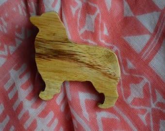 Handmade Canarywood Australian Shepherd (Aussie) Pin - Large