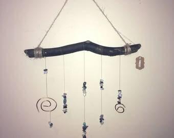 Driftwood Hanging Art - Healing Crystals, Copper Spirals
