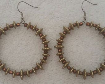 Copper And Bronze Colored Hoop Earrings