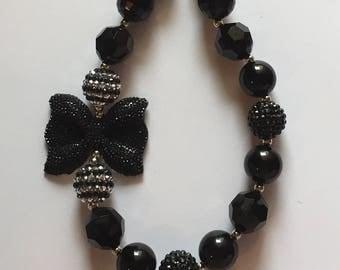 Black bubblegum bead necklace