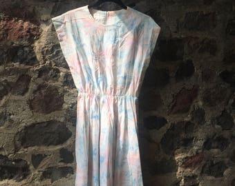 Vintage 80s Tropical Spring Floral Dress size M